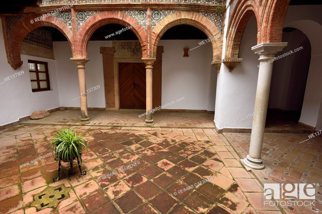 Stock Photo: Mudejar style in open courtyard at Mondragon Palace and Ronda Museum Andalusia Spain.