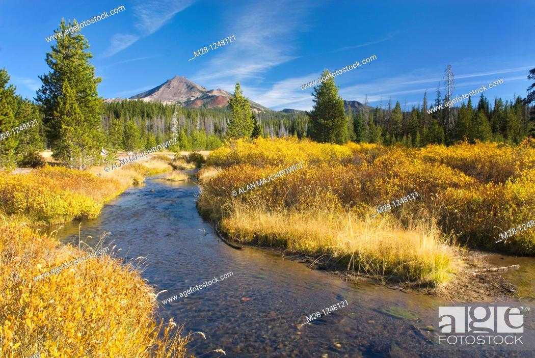 Stock Photo: Broken Top with Soda Creek in the foreground, Willamette National Forest Oregon.