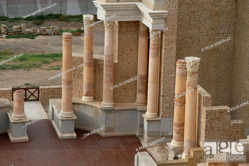 Stock Photo: Roman Amphitheater, Cartagena, Murcia, Spain.