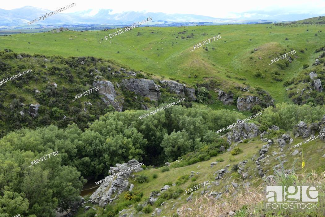 Stock Photo: Landscape along the Central Otago Rail Trail, South Island, New Zealand.