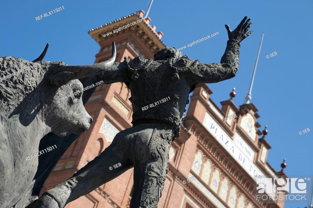 Stock Photo: Statue, Plaza de Toros de las Ventas, Madrid, Spain.