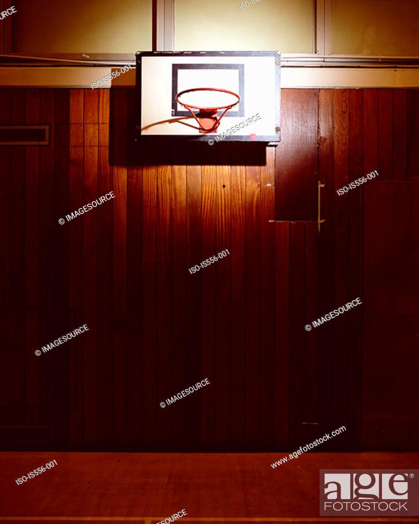 Stock Photo: Empty basketball court.