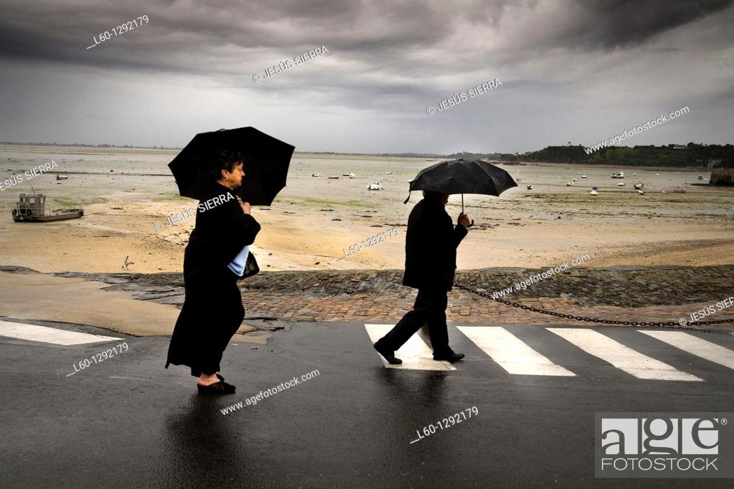 Stock Photo: rain in Cancale, Brittany France.