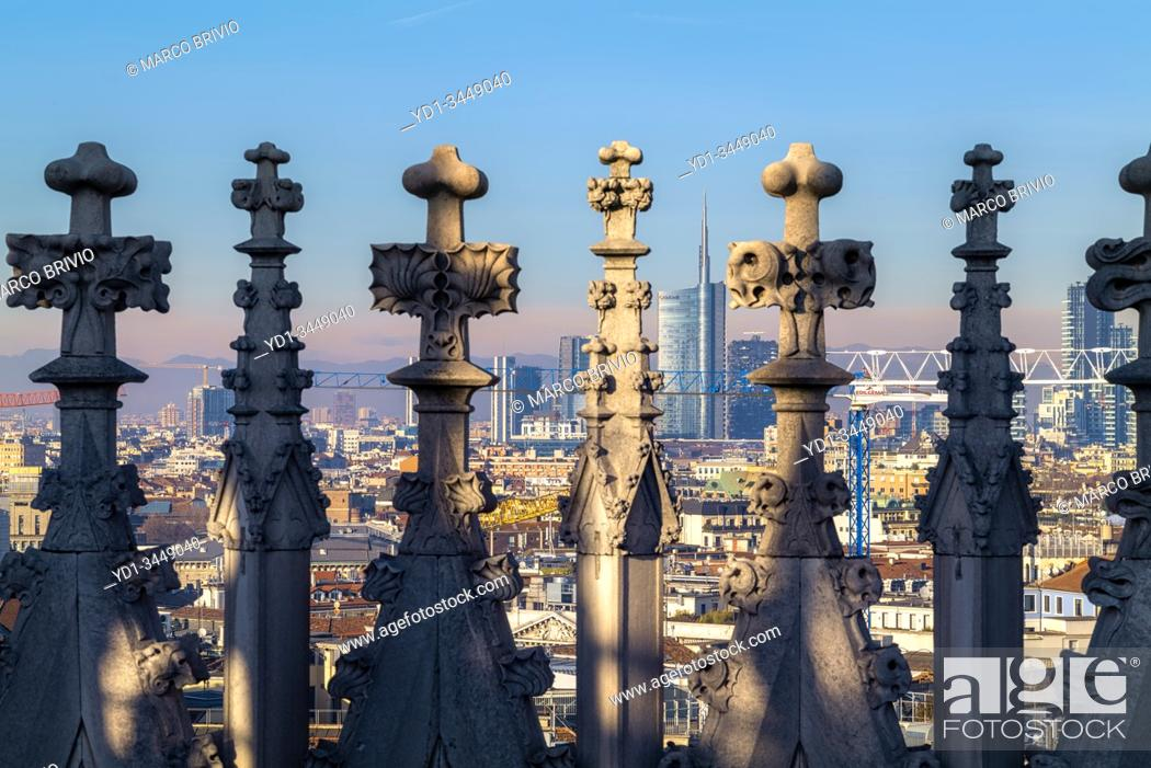 Stock Photo: Milan Italy. The cityscape from the spires of the Duomo Cathedral.