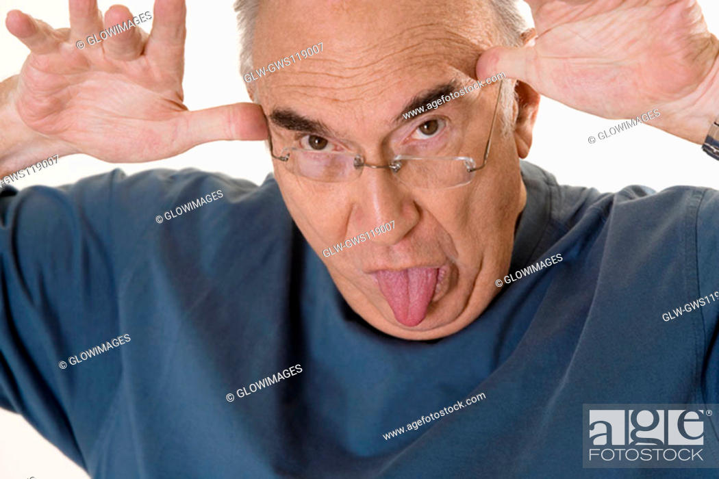 Stock Photo: Close-up of a senior man making a face.