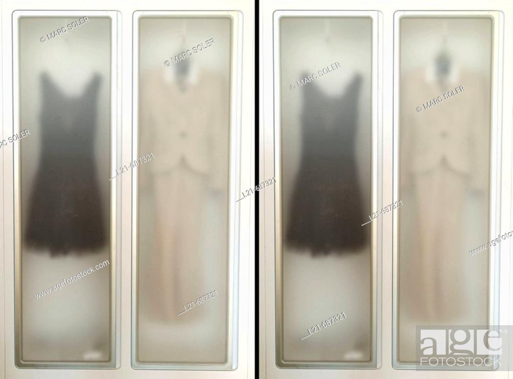 Stock Photo: Modern and translucent wardrobe.