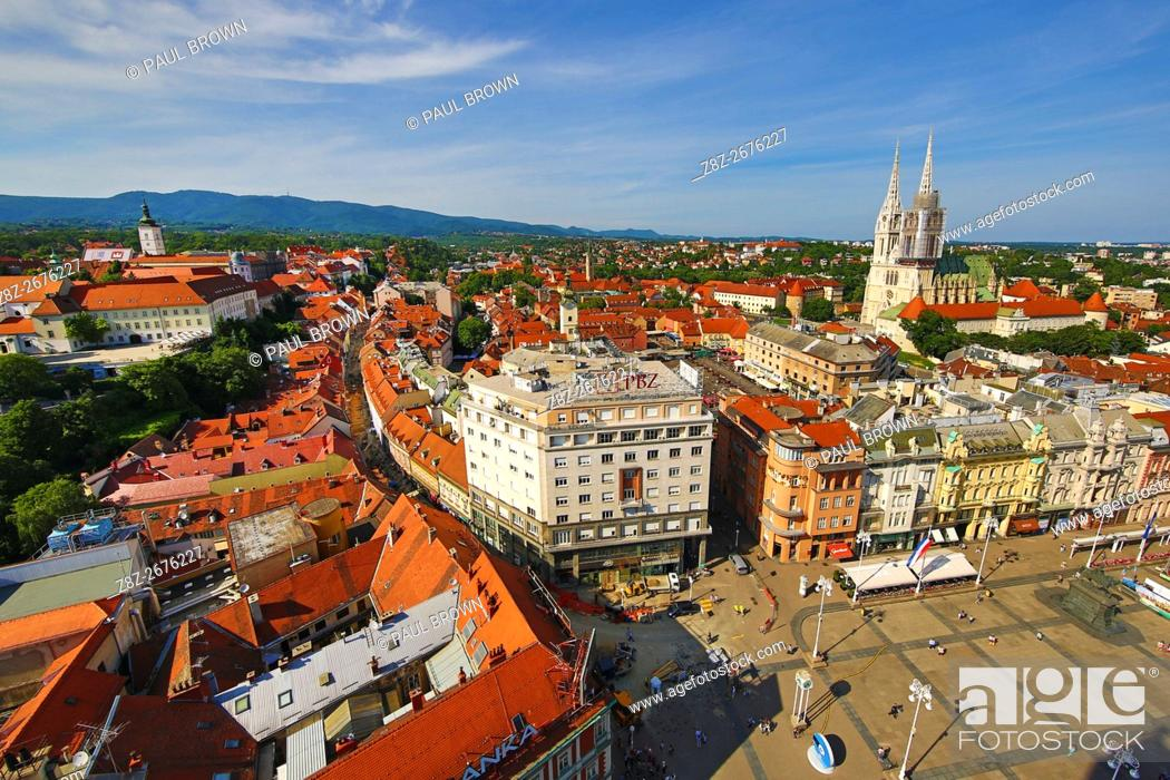 Stock Photo: General city skyline view with Zagreb Cathedral and Ban Jelacic Square in Zagreb, Croatia.