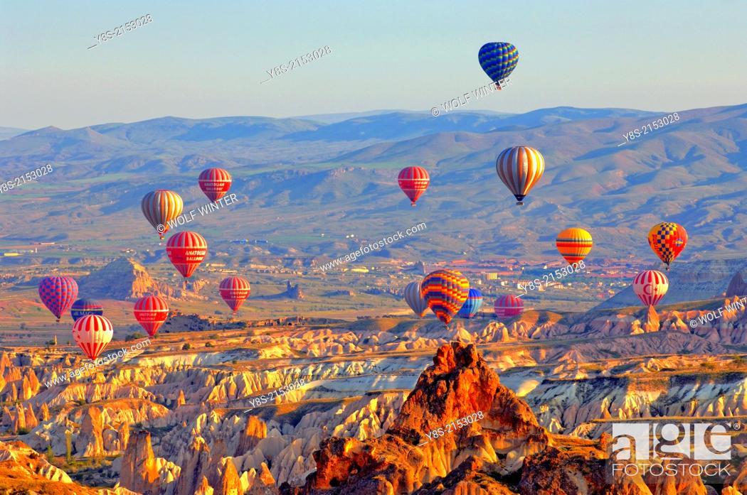 Stock Photo: Hot Air Ballons above the Uergip Valley in Cappadocia.