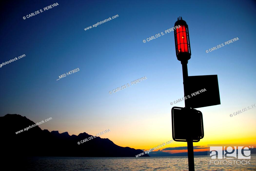 Stock Photo: Leman Lake, at the border of Switzerland and France, Europe.