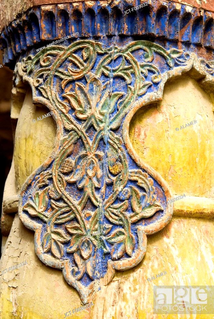Stock Photo: China, Xinjiang, kashgar, mosque, wooden carved detail.