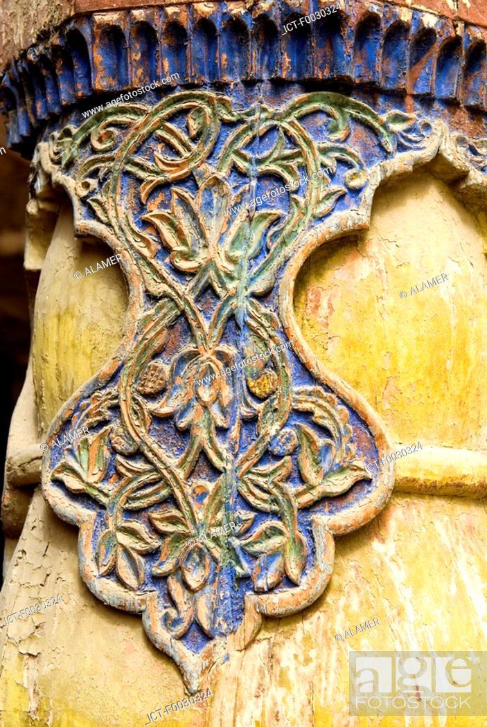 Stock Photo: China, Xinjiang, kashgar, mosque, wooden carved detail.