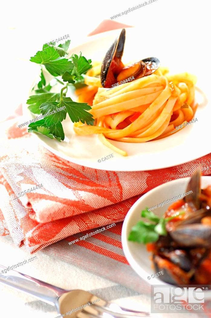 Stock Photo: pasta with mussels.