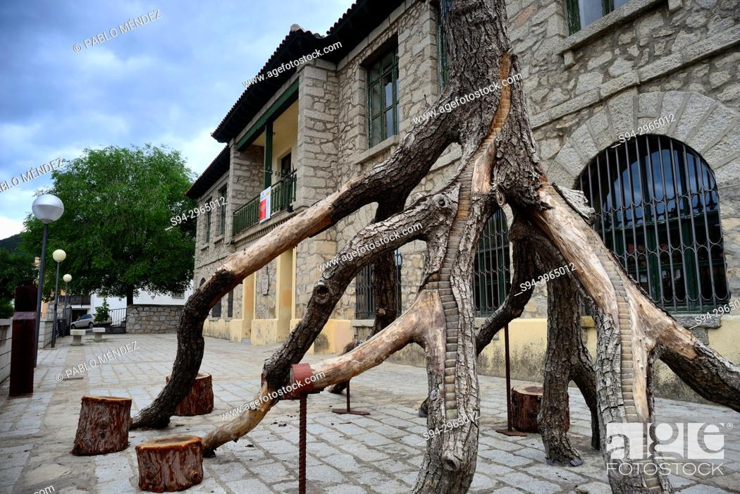 Stock Photo: Artistic tree carving in Old Schools of Bustarviejo, Madrid, Spain.
