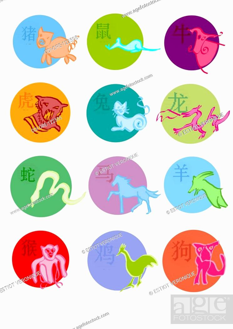 Chinese Horoscope Symbols Stock Photo Picture And Rights Managed