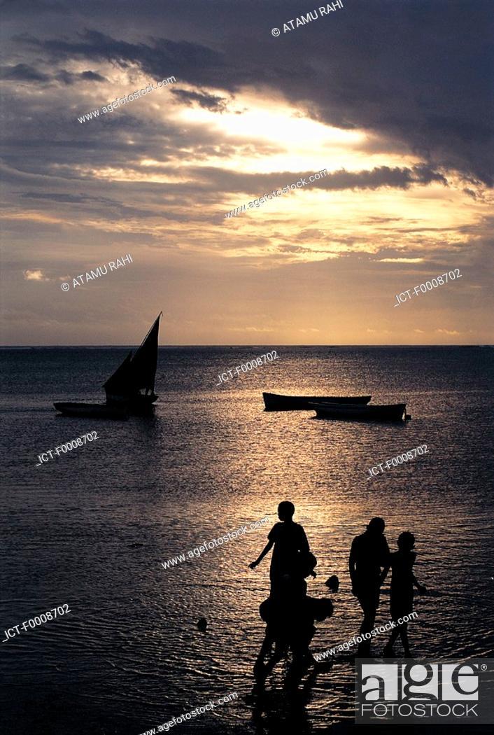 Stock Photo: Mauritius, beach on sunset.