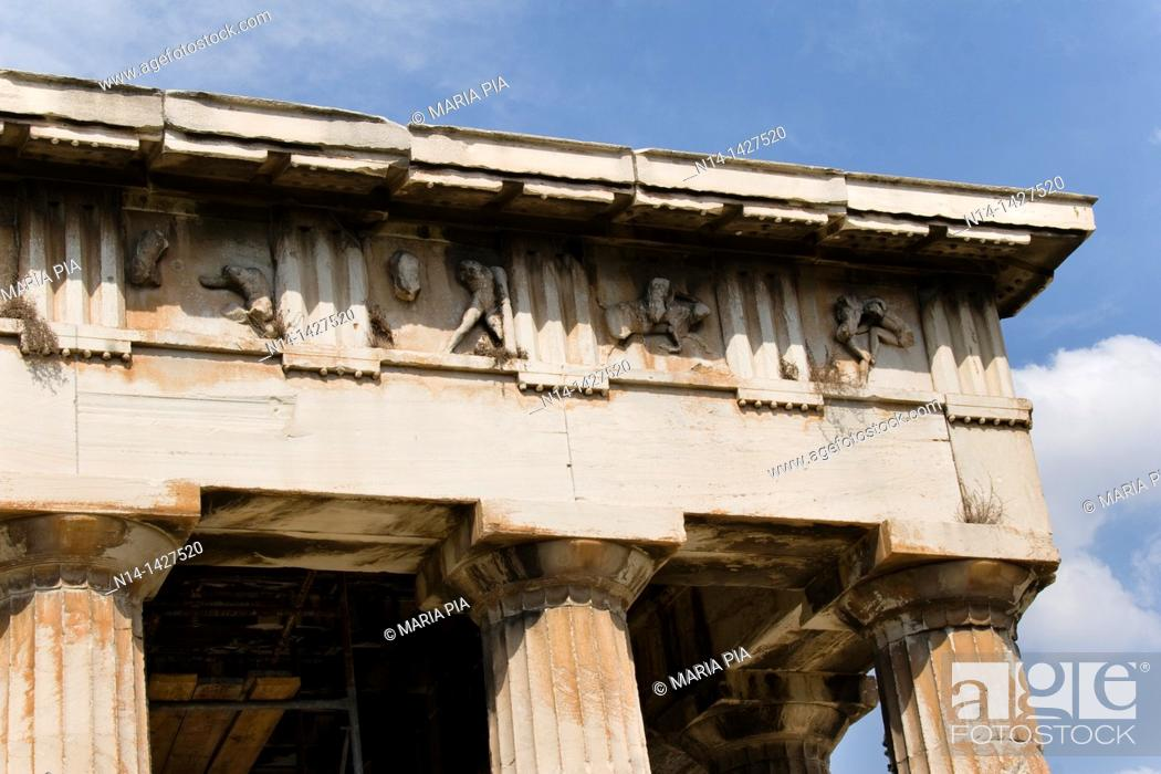 Stock Photo: Frieze of The Temple of Hephaestus, best-preserved ancient Greek temple, detail, Athens, Greece.