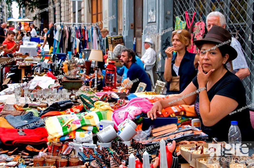 Stock Photo: Buenos Aires Argentina San Telmo Town City Street Flea Market.