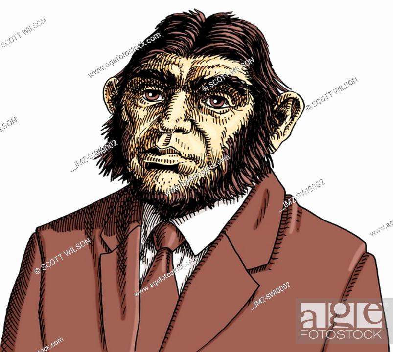 Stock Photo: Businessman with apes head.