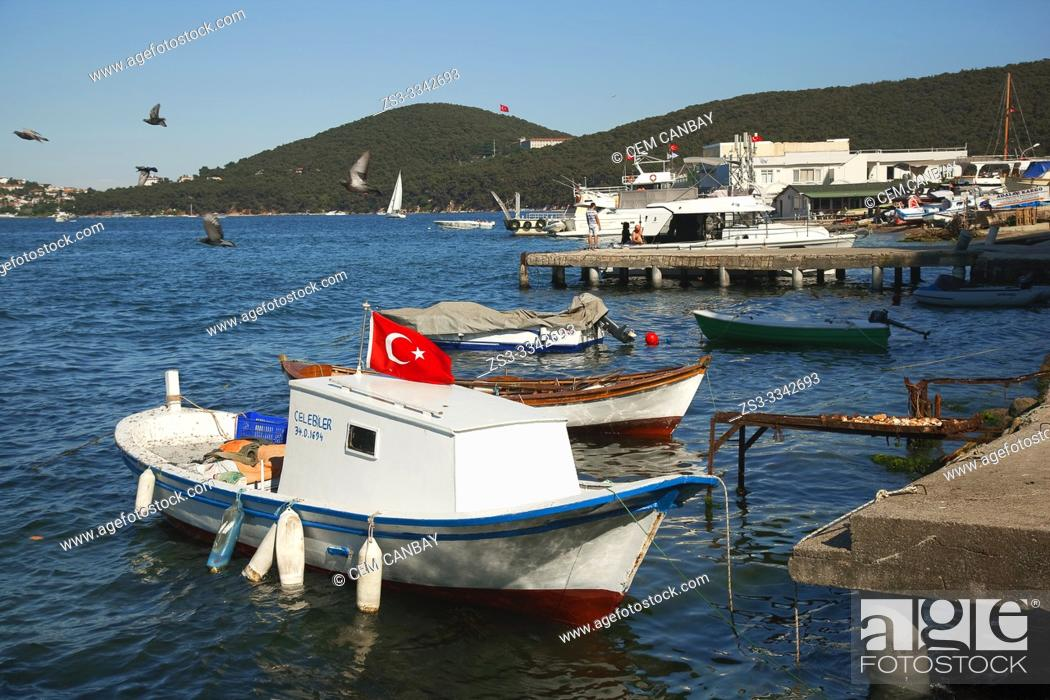 Stock Photo: Traditional fishing boats at the harbor in Burgazada island, Prince Islands, Istanbul, Marmara Region, Turkey, Europe.