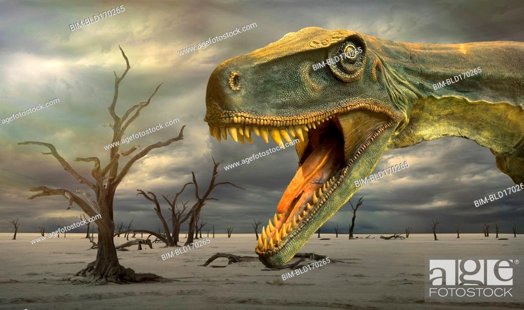 Stock Photo: Tyrannosaurus Rex roaring in desolate landscape.