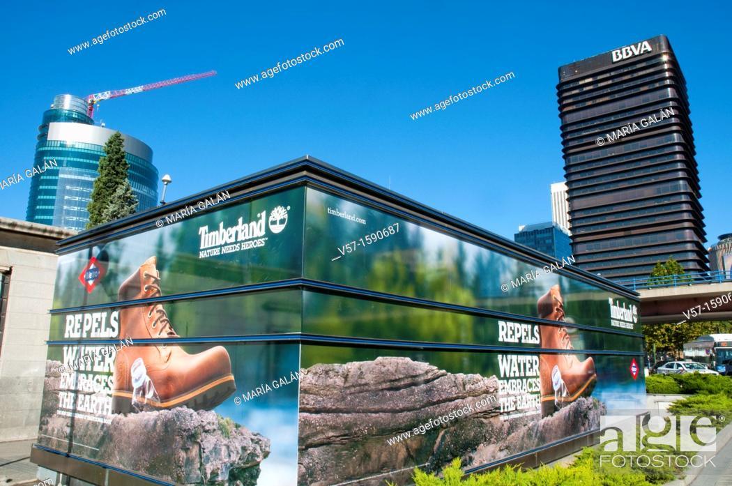 Photo de stock: Advert and view of AZCA from Paseo de la Castellana. Madrid, Spain.