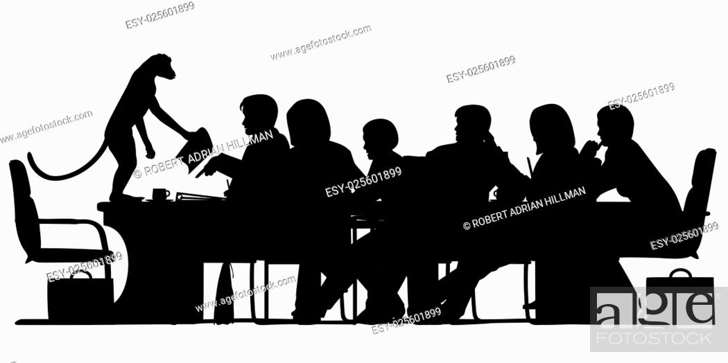 Stock Vector: EPS8 editable vector silhouette of a business meeting chaired by a monkey with all figures as separate objects.