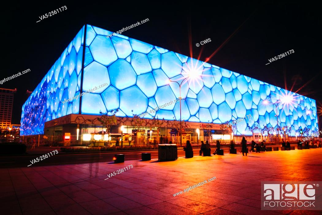 Imagen: Beijing, China - May, 2013: The view of Chinese National Aquatics Center (Water Cube) at night.