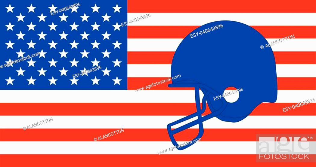 Vector: Outline sketch of a football helmet in blue set on a Stars and Stripes background.