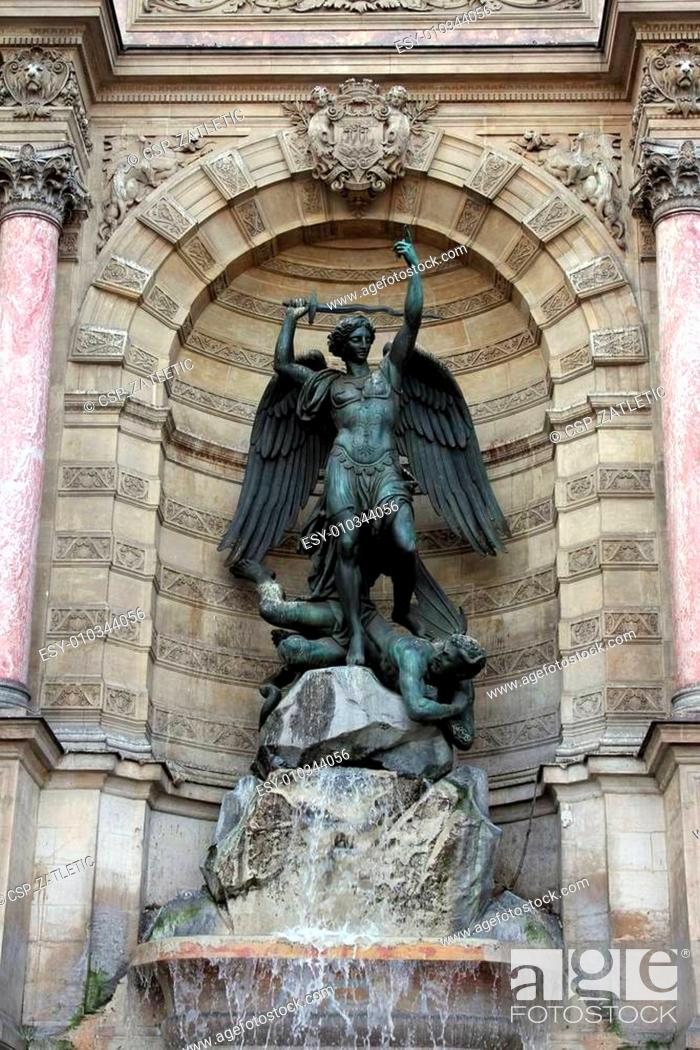 Stock Photo: Fountain Saint-Michel in Paris, France.