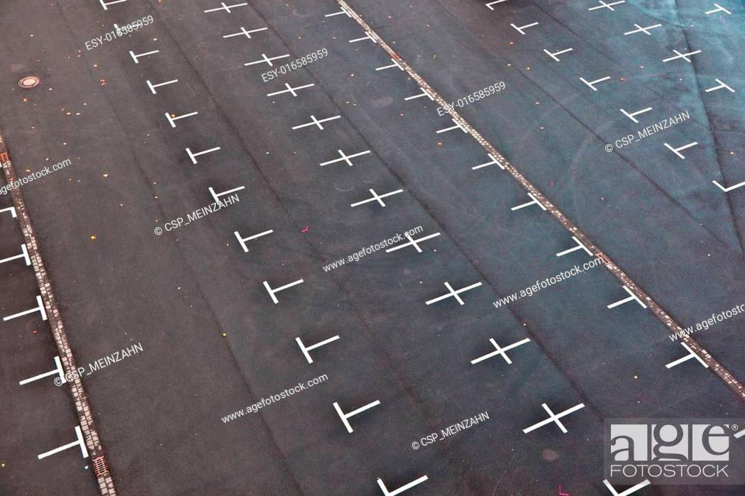 Stock Photo: marked parking lot without cars.
