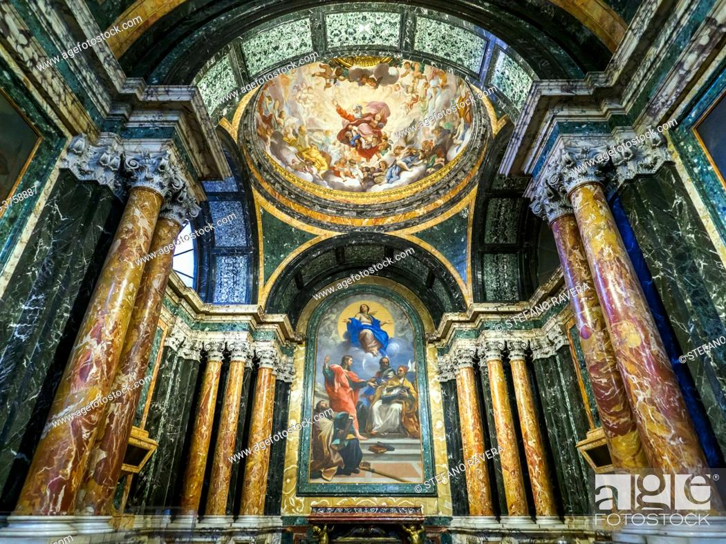 Stock Photo: Immaculate Conception and S. S. John the Evangelist, Gregory, John Chrysostom and Augustine (1686), oil on wall by Carlo Maratta in the Cybo Chapel in the.