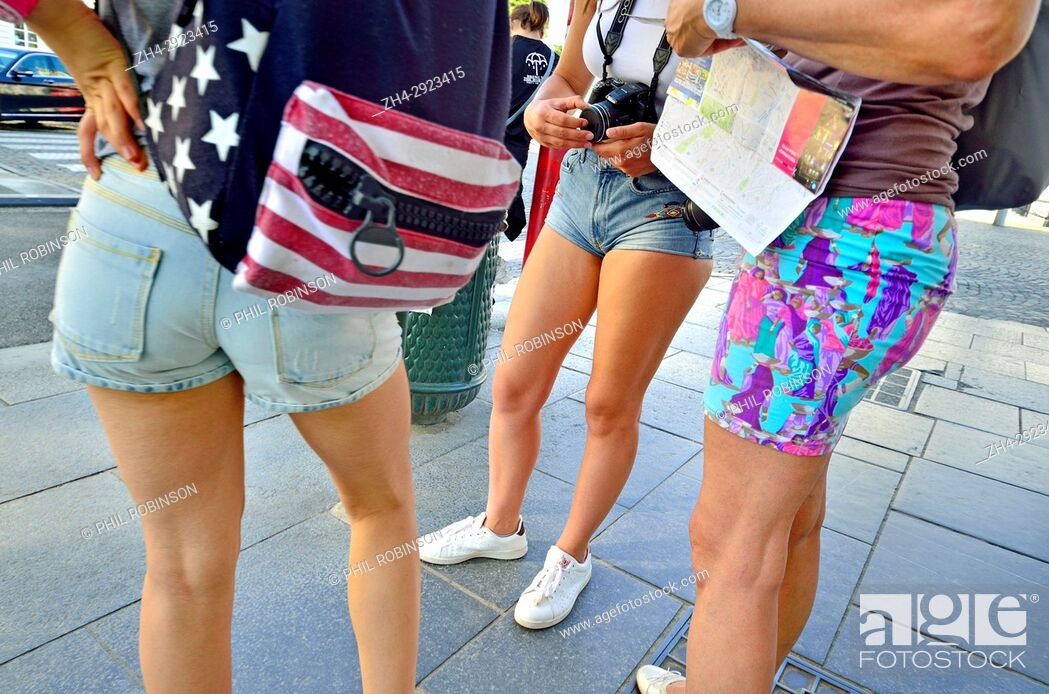 Stock Photo: Brussels, Belgium. Girls in shorts.