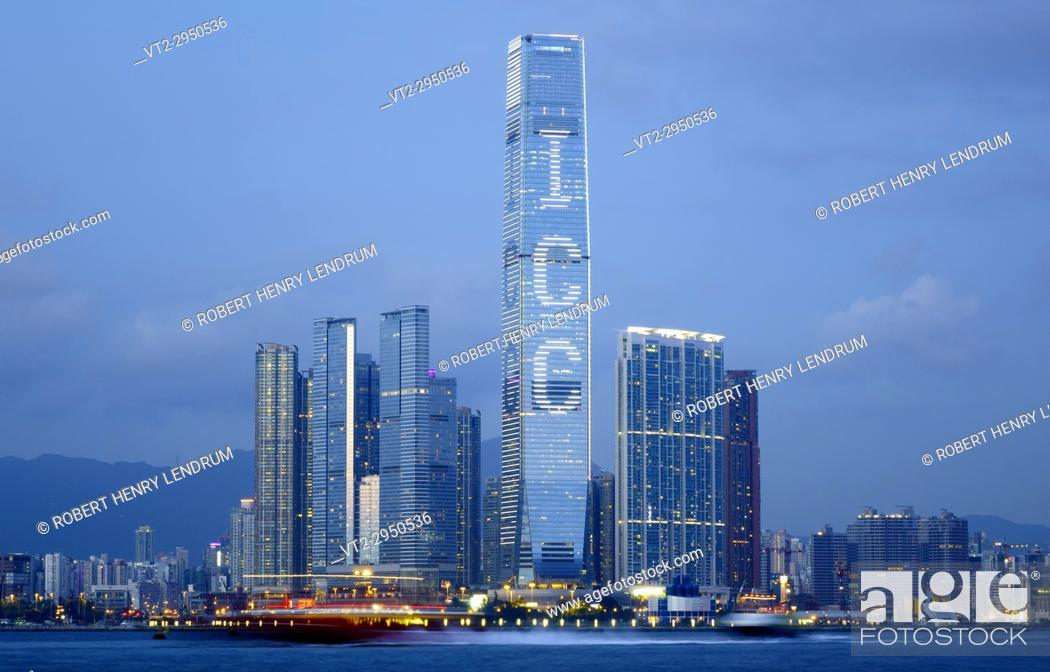 Stock Photo: The new Kowloon skyline and Hong Kong's tallest building, The International Commerce Center ICC, Hong Kong, China.