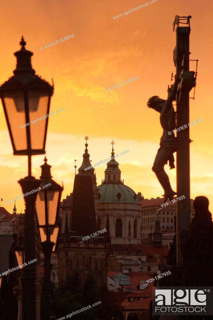 Stock Photo: Charles Bridge, Mala Strana tower and Saint Nicholas Church, Prague, Czech Republic.