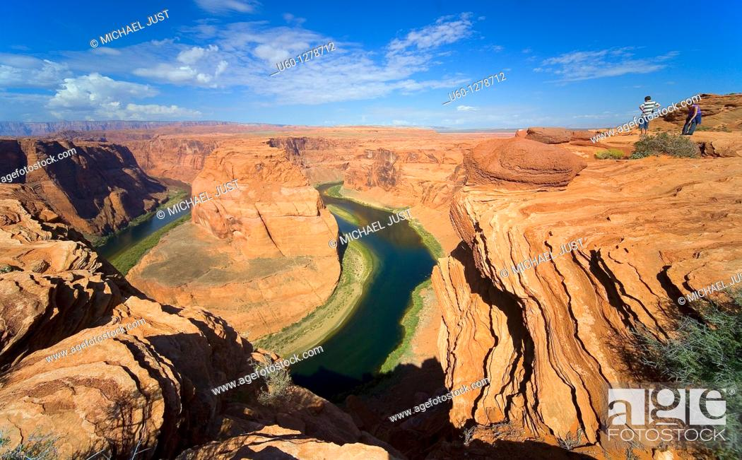 Stock Photo: The Colorado River winds its way through the sandstone cliffs of Horseshoe bend in Northern Arizona near Page.