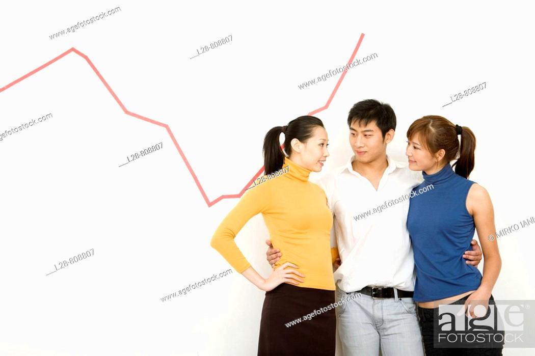 Stock Photo: Business Team talking on stock market.