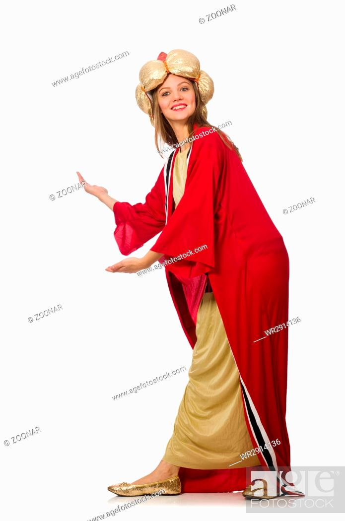 Imagen: Woman wizard in red clothing isolated on white.