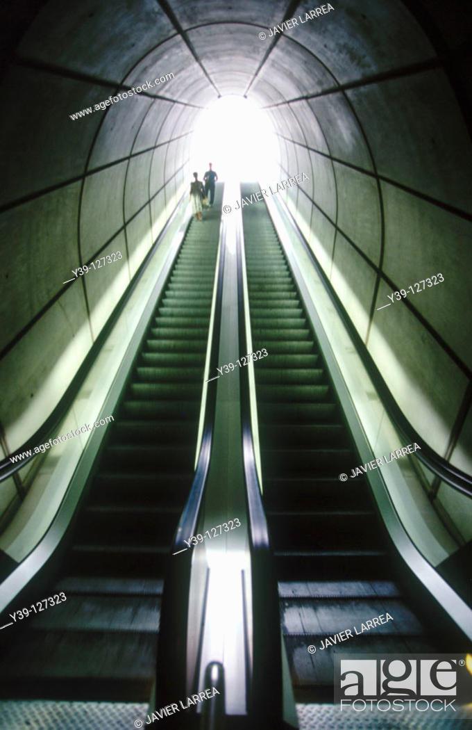 Stock Photo: Escalators, subway, Bilbao. Biscay, Euskadi, Spain.