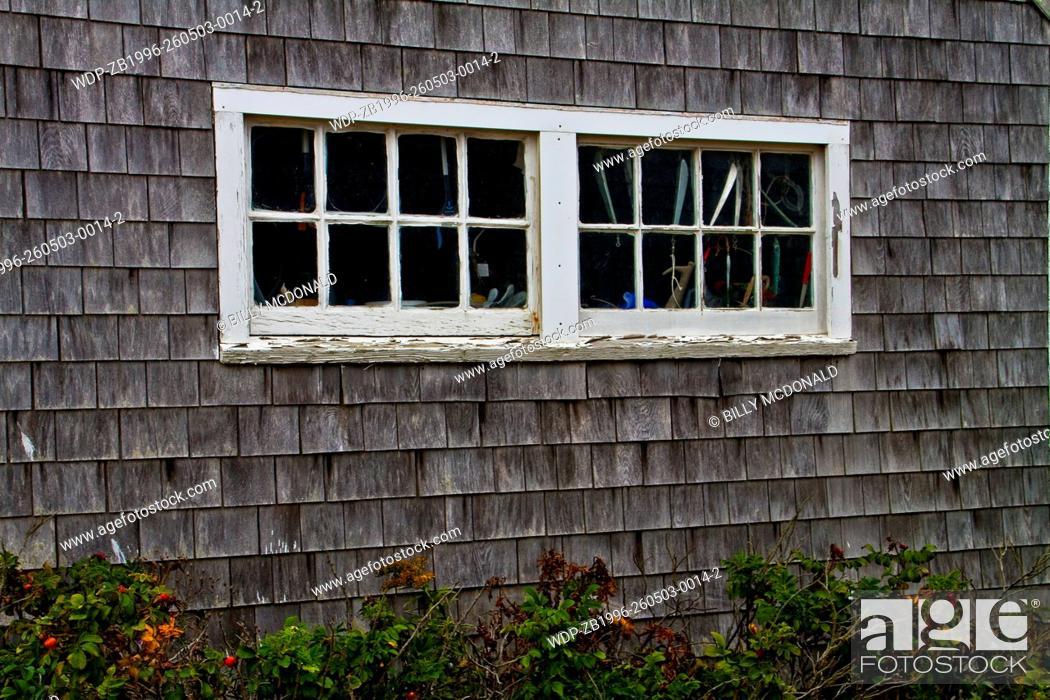 Stock Photo: Fishing Cottage on Menemsha's Harbor, Chilmark, Massachussets, USA.