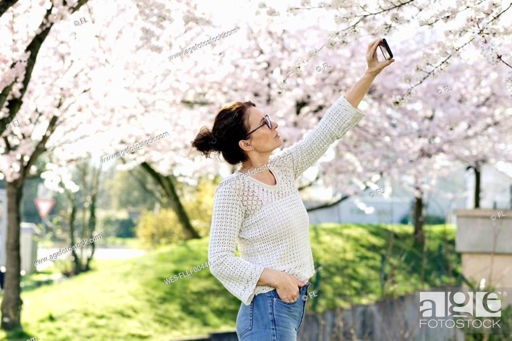 Stock Photo: Portrait of mature woman taking photo of tree blossoms with smartphone.