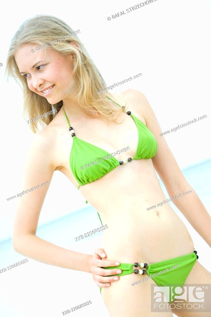 Stock Photo: young woman in bikini.