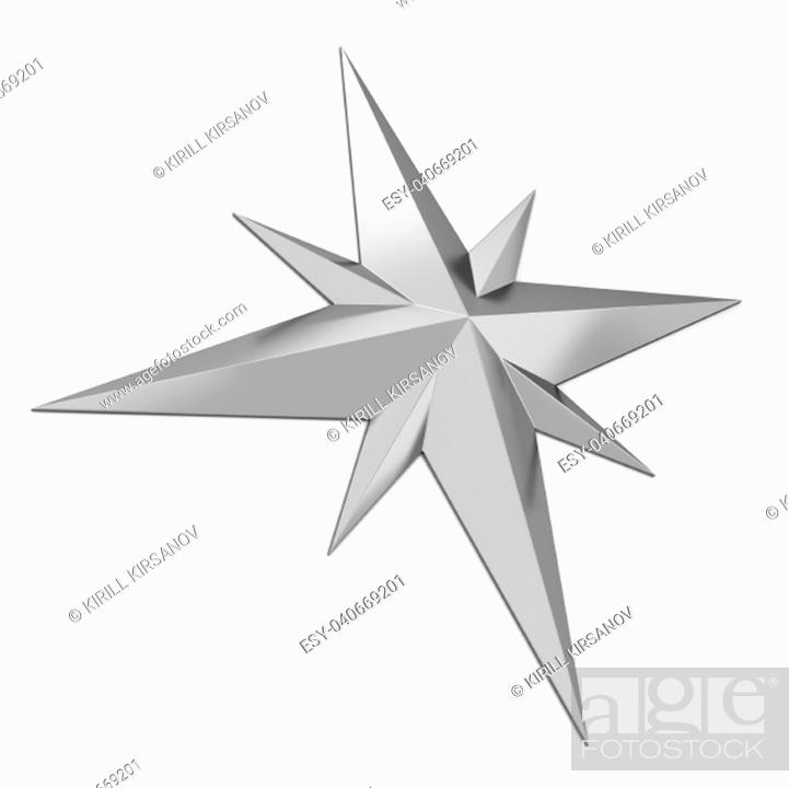 Imagen: Compass rose symbol. 3d illustration isolated on white background.