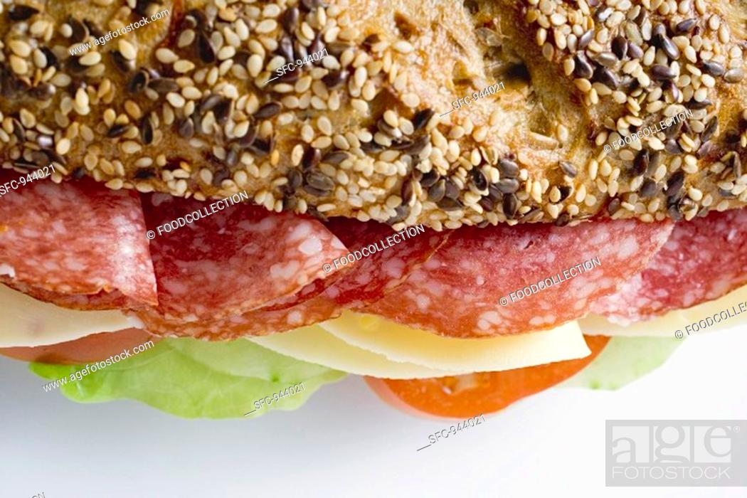 Stock Photo: Salami and cheese sandwich.