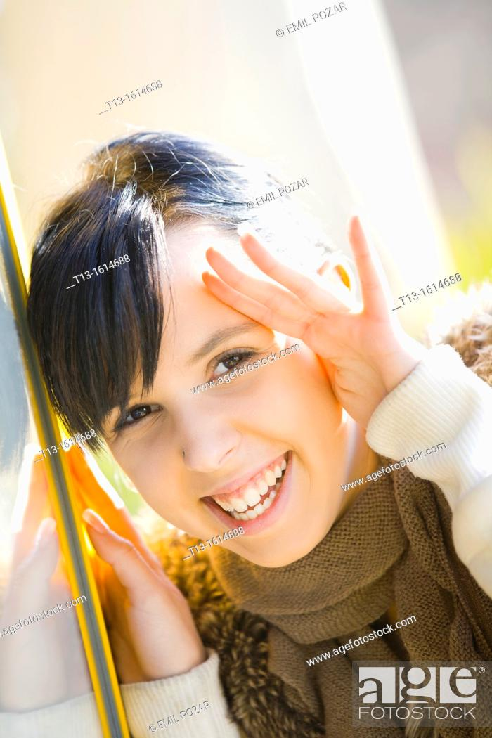 Stock Photo: Laughing young woman portrait.