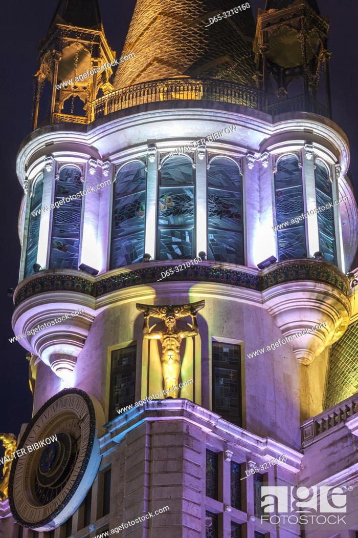 Photo de stock: Georgia, Batumi, Astronomical Clock Building, dawn.
