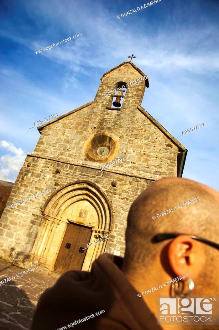 Stock Photo: Santiago Church. Roncesvalles Collegiate. Navarra-province. Way to Santiago. Spain.