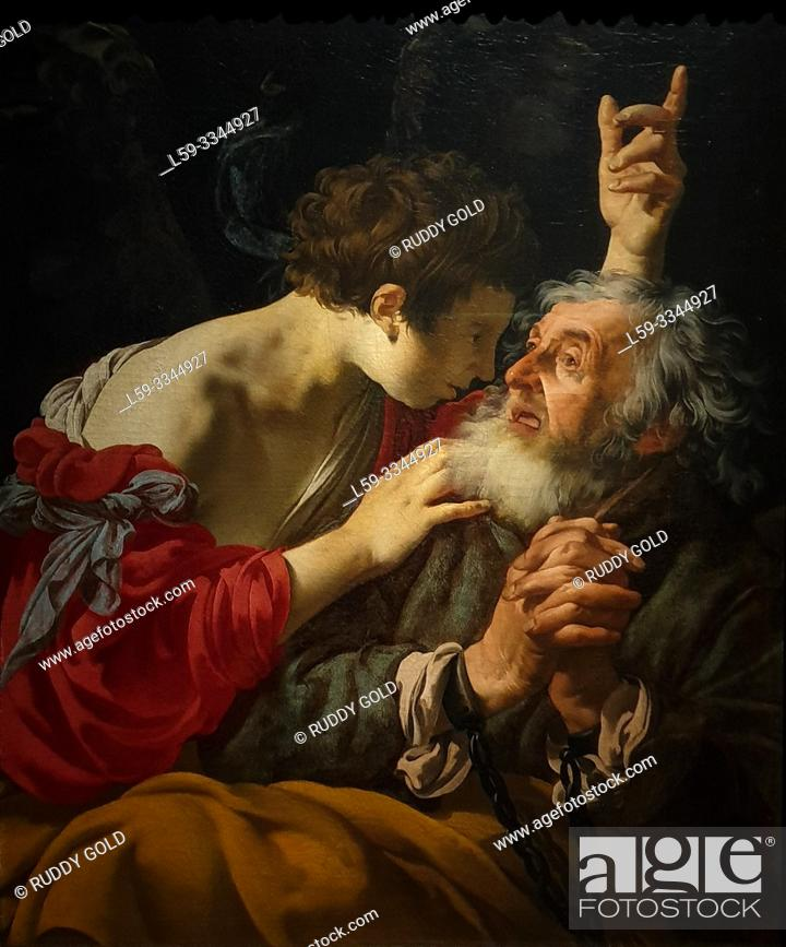 Stock Photo: 'The liberation of Peter', 1624, Hendrick ter Brugghen (1588-1629).