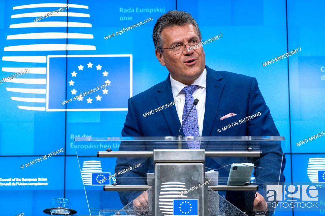 Stock Photo: Maros Sefcovic (Vice President), Interinstitutional Relations and Foresight of the European Union at the EU ministers of European Affairs informal video.