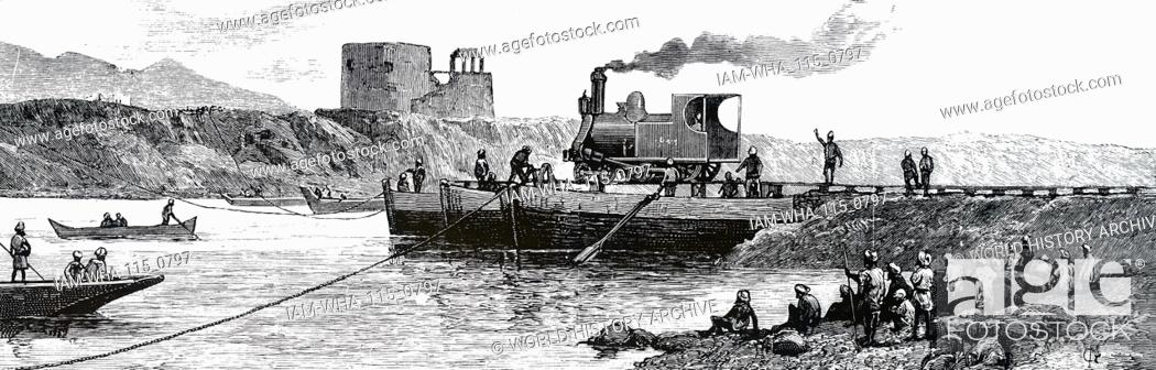 Engraving depicting an Indian train   Dated 19th century, Stock