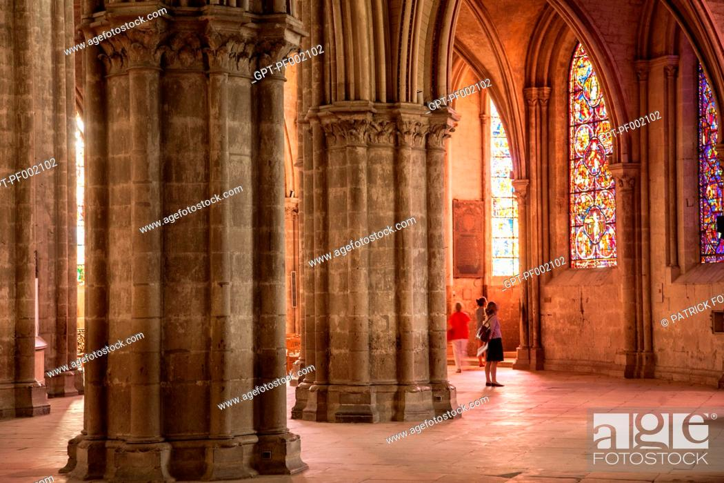 Stock Photo: DOUBLE AMBULATORY IN THE CATHEDRAL SAINT-ETIENNE IN BOURGES, A GEM OF GOTHIC ARCHITECTURE LISTED AS A WORLD HERITAGE SITE BY UNESCO, CHER, FRANCE.